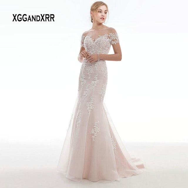 Elegant Pink Wedding Dress 2019 Mermaid Bride Dress Short Sleeves Lace Applique Illusion Back Button vestido de noiva Plus Size