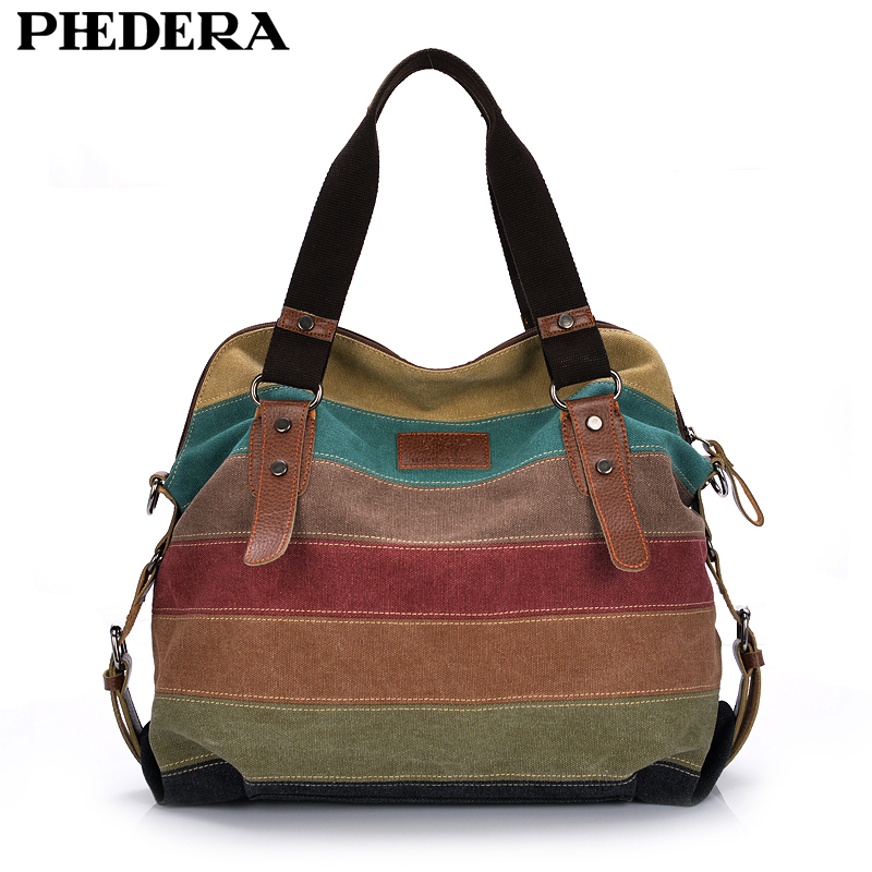 Fashion Canvas Bag Brand Women Handbag Classic Patchwork Casual Female Shoulder Bags Striped Rainbow Purse Pouch 2019 Spring