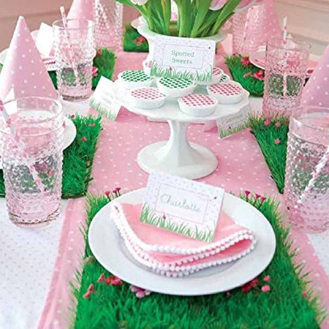 5pcs grass mat placemat for wedding birthday bachelorette party bridal shower gender reveal flower table centerpieces