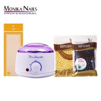 Monika Nail Wax Warmer Hair Removal Tool Wax Heater Machine 200g Brazilian Hard Wax Beans 12 Wax Applicator Spatulas
