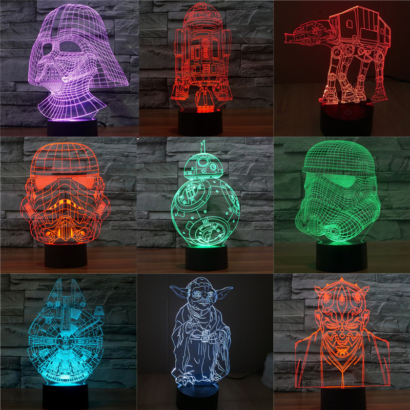 3D Bb8 Star Wars Figurine Visual Illusion LED Lamp Darth Vader Millennium  Falcon Toy Light Doll Lightsaber Yoda Action Figure In Action U0026 Toy Figures  From ...