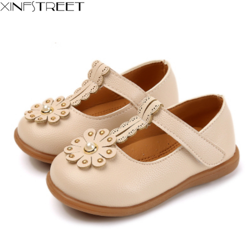 Xinfstreet Brant Baby Toddler Shoes Girls Shoes Leather Flower Soft Good Quality Children Princess Shoes Girls Size 21-25