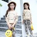 Impresso conjuntos de roupas de outono crianças pouco adolescente menina veste ternos tops de manga longa camisetas calças 2 pcs set crianças roupas