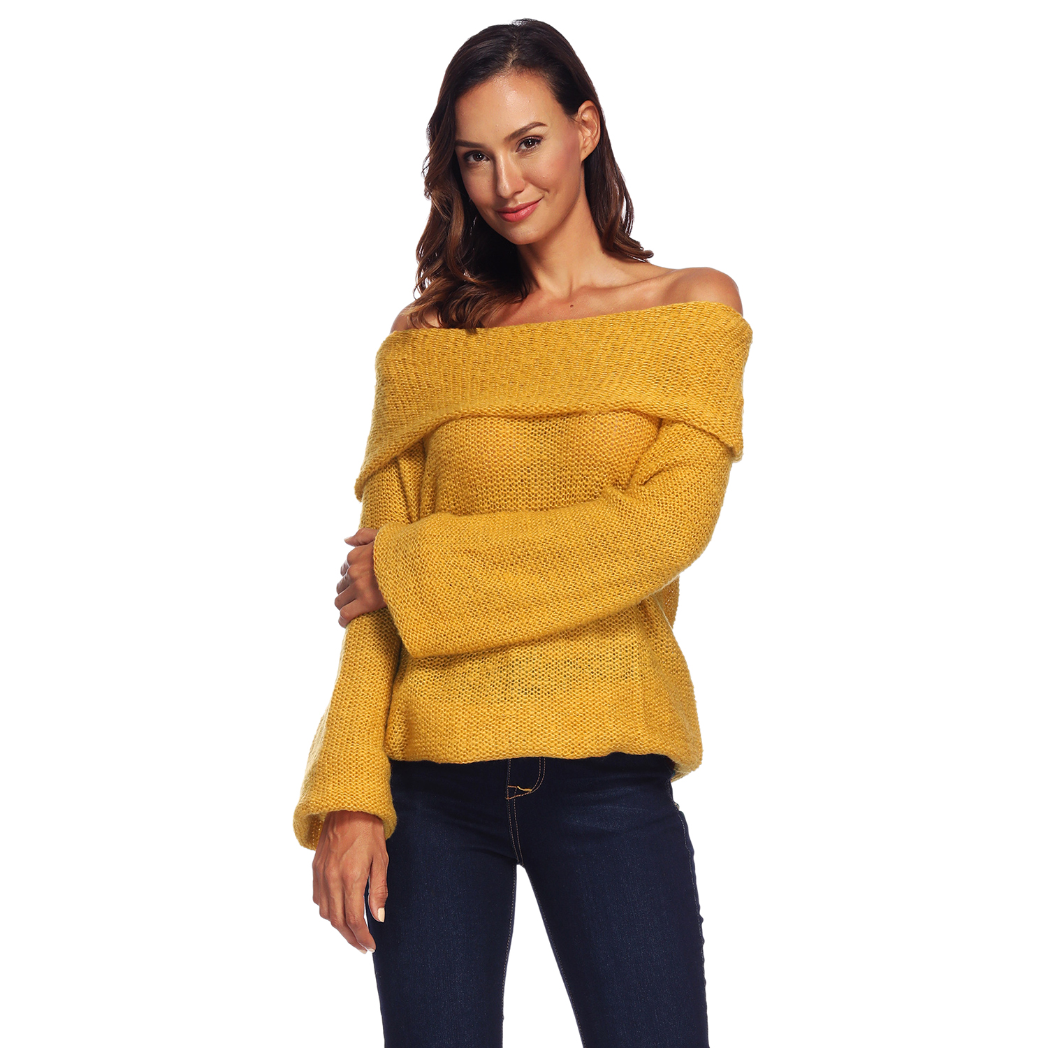 Autumn Winter New Sweater Women Off Shoulder Long Sleeve