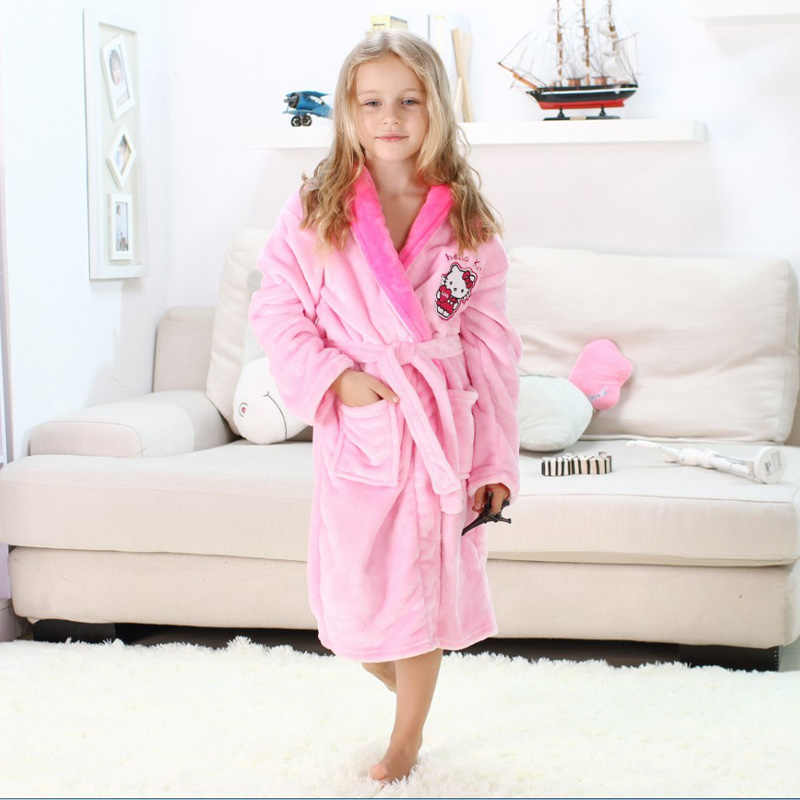1ec2dba8b ... Children Robes Pajamas Thick Flannel Mickey Minnie Hello Kitty  Nightwear Robes for 4-16 Years ...