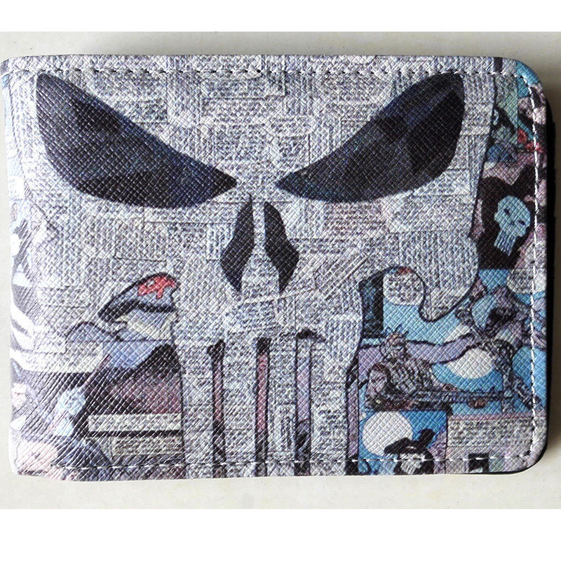 2018 New Marvel Comics The Punisher The skeleton Logo wallets Purse Gray 12cm Leather W021 the punisher wallet marvel comics punisher with logo superhero collection character leather look bi fold purse dft 1536