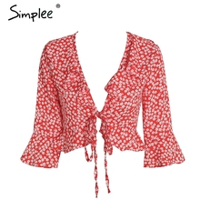 Simplee Chic v neck print chiffon blouse shirt women Ruffle tie up summer blouse Sweet crop top flare sleeve sexy blouse 2018