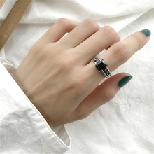 Flyleaf 925 Sterling Silver Rings For Women Vintage Square Black Agate High Quality Simple Fashion Fine Jewelry Open Ring Femme flyleaf 925 sterling silver rings for women high quality simple cross weave fashion open ring vintage femme fine jewelry gif