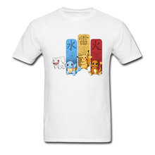Logo T-shirt Men Pokemon Tshirt Let's Go Pikachu T Shirts Thunder Water Fire Elements Tops Tees Cotton Pocket Monster Streetwear autumn clothing pokemon hoodie children t shirts cartoon pikachu charmander boys clothes cotton pocket monster girls clothing
