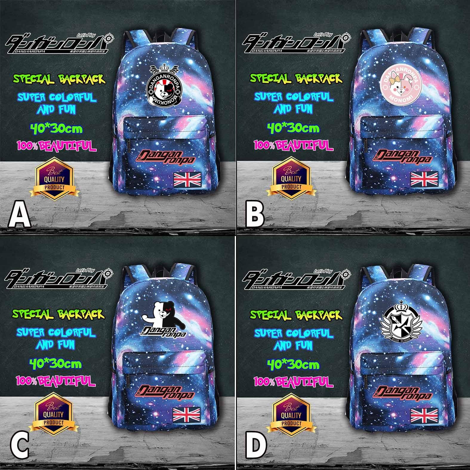 Danganronpa Trigger Happy Havoc Monokuma Kuma Bear Monomi Symbol Meteor Backpack Leisure Daily Backpack Student School Bag Cool