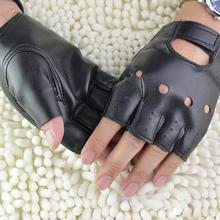 1 пара, унисекс, черные перчатки без пальцев из искусственной кожи, одноцветные женские перчатки на половину пальца, для вождения, для женщин и мужчин, модные мотоциклетные перчатки в стиле панк