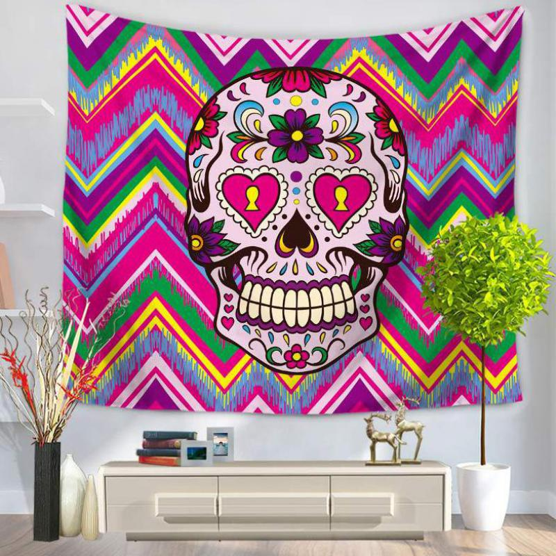 Wholesale Customized New Hot Sugar Skull Tapestry Scarf Bar Wall Hanging Tapestry Beach <font><b>Towel</b></font> Sitting Blanket