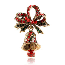 CINDY XIANG Cute Rhinestone Bell Brooches for Women Trendy Christmas Creative Pins Bow Accessories Dress Coat Jewelry Hot Sales цена