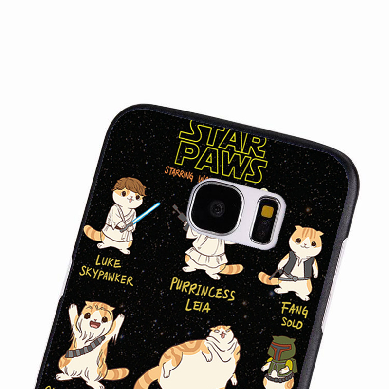 LvheCn phone case cover For Samsung Galaxy S3 S4 S5 mini S6 S7 S8 edge plus Note2 3 4 5 7 8 Stars Wars Paws Cat Funny Joke