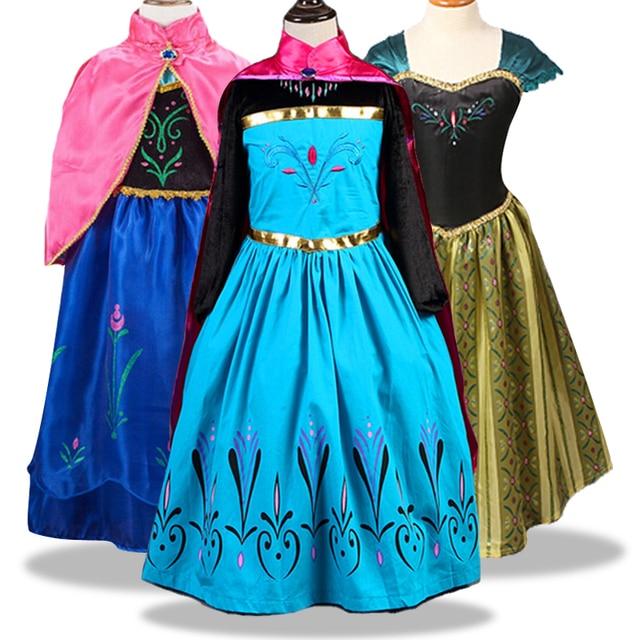 Meninas do bebê Vestido de Natal Vestidos Da Menina Da Princesa Elsa Anna Elsa Cosplay Traje de Verão Vestido para a Festa de Aniversário Vestidos De Menina