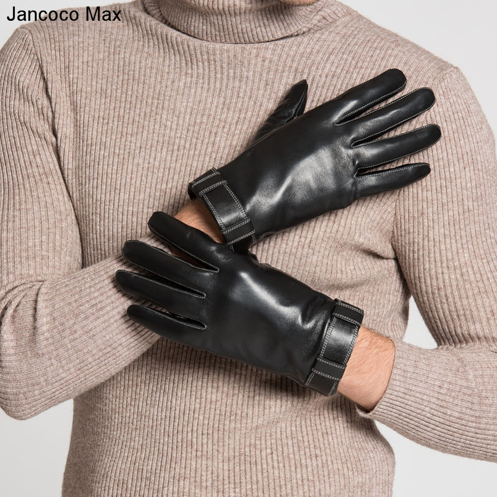 Jancoco Max 2018 Touch Screen Mens Genuine Leather Gloves Real Sheepskin Winter Outdoor Sport Warm Soft Mittens S2059