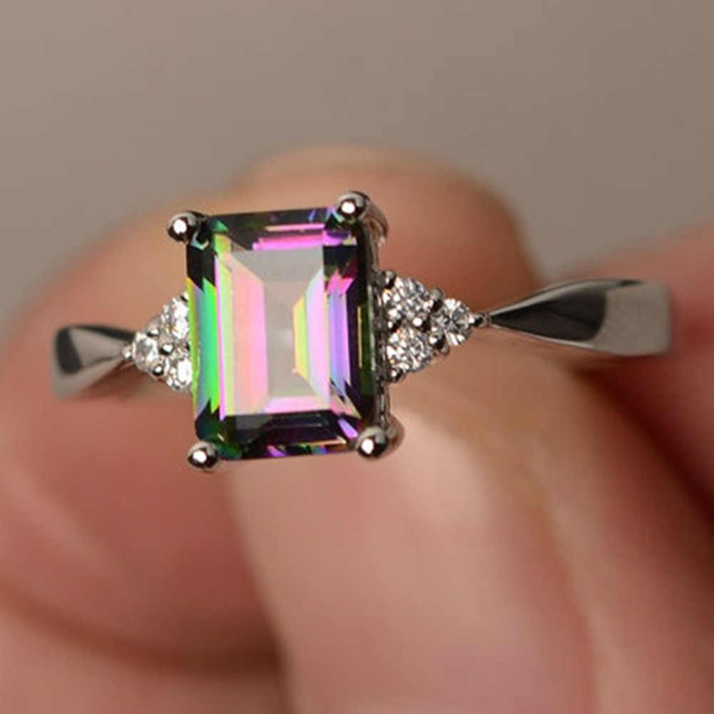 Hot Fashion Mens Women Colorful Stone Square Zircon Ring Creative Personality Inlaid Rainbow Crystals Zircon Ring Top Quality