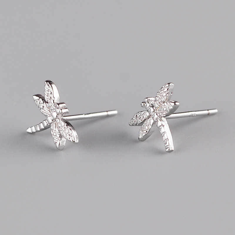 Pure 100% 925 Sterling Silver Hypoallergenic Dragonfly Stud Earrings For Women Gift Brincos Pendientes de plata EH625