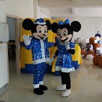 New Arrival Minnie Mickey Mascot Costume Cartoon Character Birthday Party Fancy Dress Christmas Party Suit with Blue Snowflakes