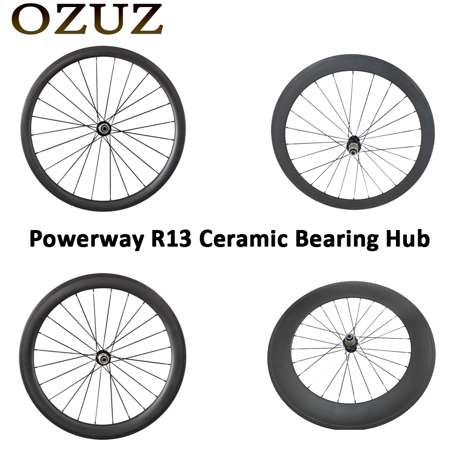 OZUZ 24mm 38mm 50mm 88mm Depth Clincher Tubular Road Bike Bicycle Carbon Wheels Ceramic Bearing Only Rear Wheel Powerway R13 Hub pezzo pezzo pnlpp21671 160p