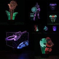 Novelty 3D Mixed Color Wonderful Star Wars Figure American Captain Constellation 7 Colors Touch Child Night Light Best Xmas Gift