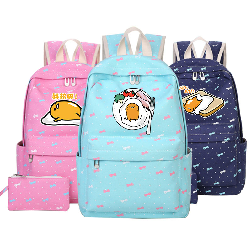 Gudetama Lazy Egg Cartoon Backpack Shoulder Bag Cosplay School Backbag Mochila Feminina Travel Canvas Bag Mochila pink kawaii