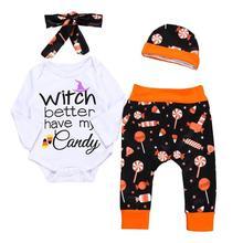 4pcs/Set Cute Child Garments Set Letters Child Heat Cotton Lengthy Sleeve Candy Sweet Halloween Romper Pants Hat Headband Outfits