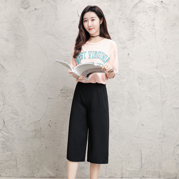 Nonis Women Summer Thin Cool Elastic High Waist Ankle Length   Pants     Capris   Female 2019 Chiffon Straight Solid Black   Pants   Casual