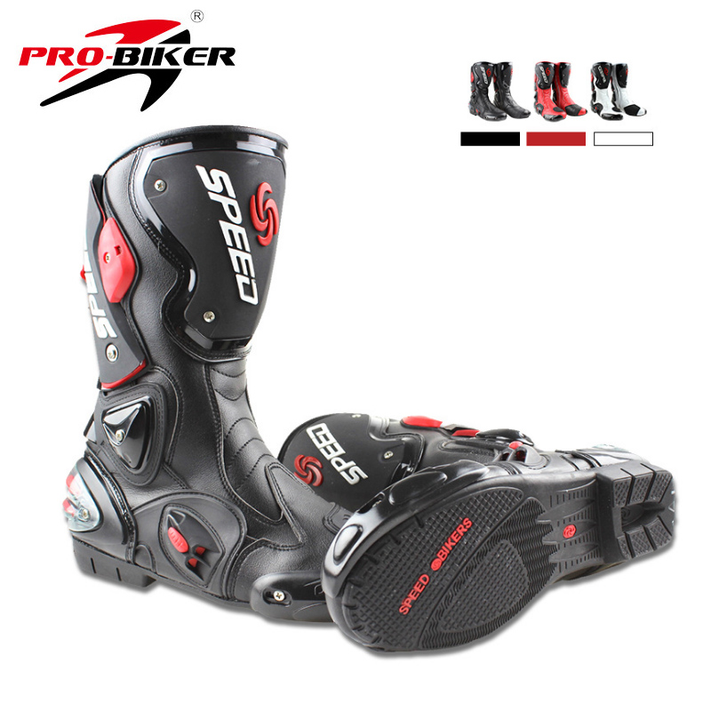 PRO-BIKER Shoes Motorcycle-Boots Moto-Racing Off-Road Black/white 43/44 title=