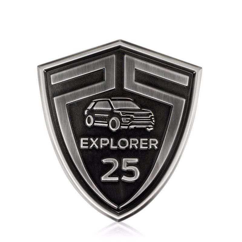 3D Silver EXPLORER 25 Years Anniversary Limited Edition Emblem Aluminium Car Styling Front Hood Grille Sticker for Ford Explorer