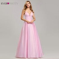 Sexy Satin Bridesmaid Dresses Long Ever Pretty A Line V Neck Backless Spaghetti Straps Women Dress For Party Wedding Guests Gown