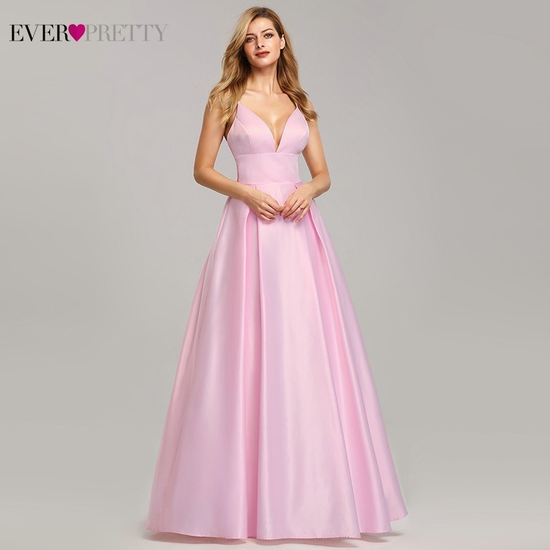 Sexy Satin   Bridesmaid     Dresses   Long Ever Pretty A-Line V-Neck Backless Spaghetti Straps Women   Dress   For Party Wedding Guests Gown
