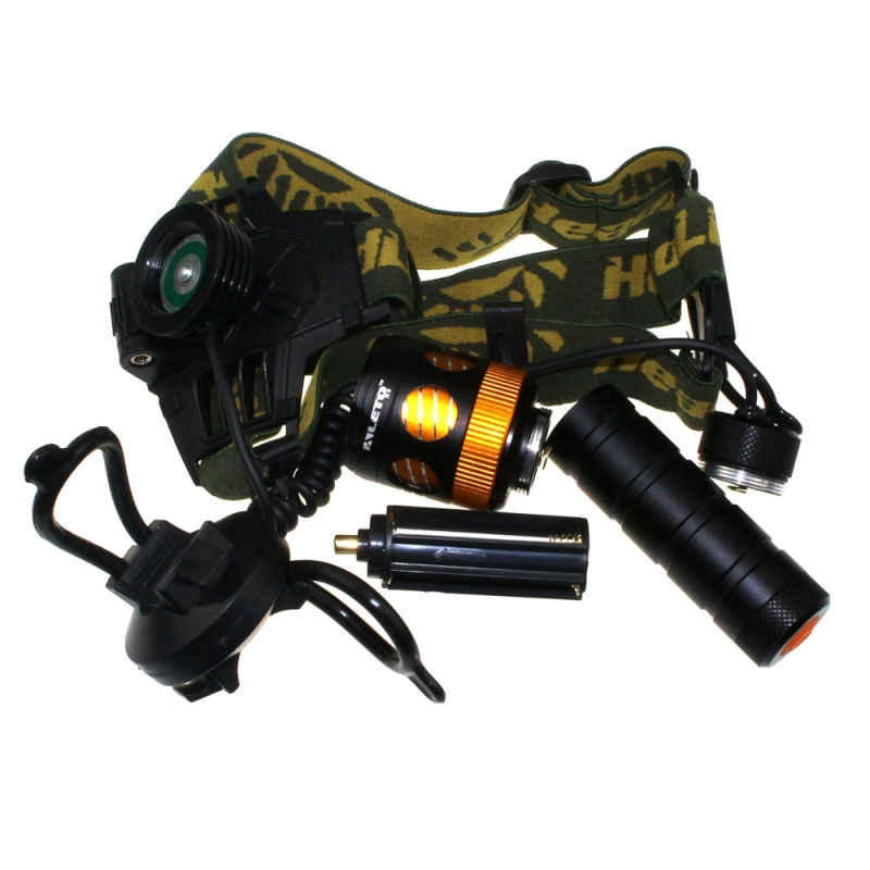 цена на KL244T6 1-LED 700LM 3-Mode White Light Mechanical Zooming Flashlight / Headlamp / Bicycle Light Black (1 x 18650)