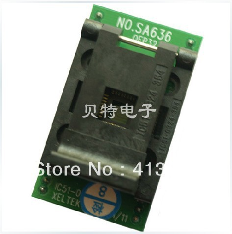 IC QFP32 programming block, SA636 block burning test socket adapter, convert original plcc44 to dip40 block adapter block cnv plcc mpu51 test convert burn