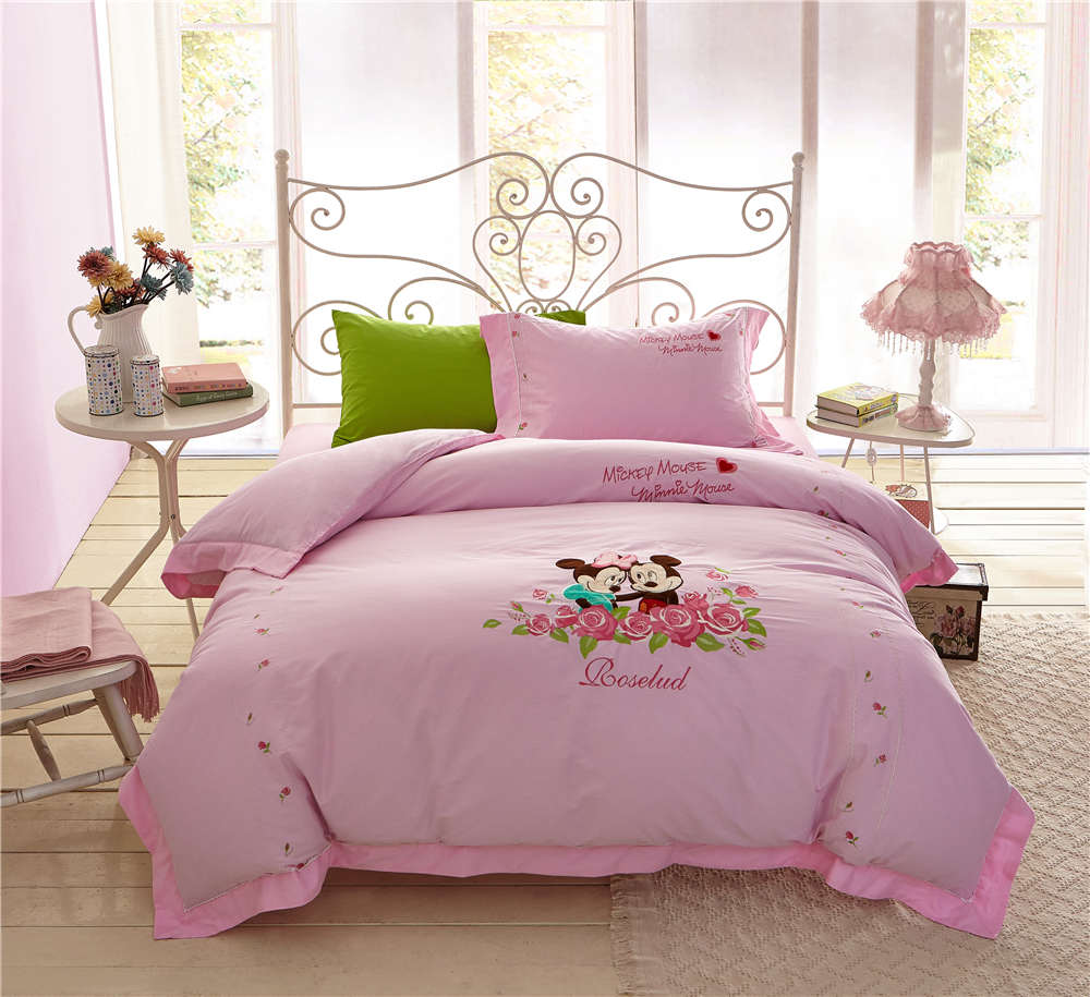US $98.79 24% OFF|Mickey Minnie Mouse Bedding Sets Girls Bedspreads Bed  Covers Sheets Applique Embroidery Cotton Woven Single Twin Full Queen  Pink-in ...