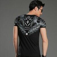 2017 Top Fashion Latest Design Black Print Two Lions Men S V Neck T Shirt Men