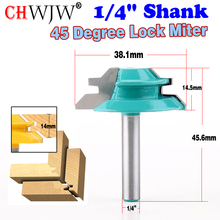 CHWJW 1PC 1/4 Shank 45 Degree Lock Miter Router Bit 1-1/2 Diameter  Wood Cutter For Wood Working Drilling new 1pc 1 4 shank lock miter router bit 45 degree woodworking cutter 1 1 2 diameter for capenter tools