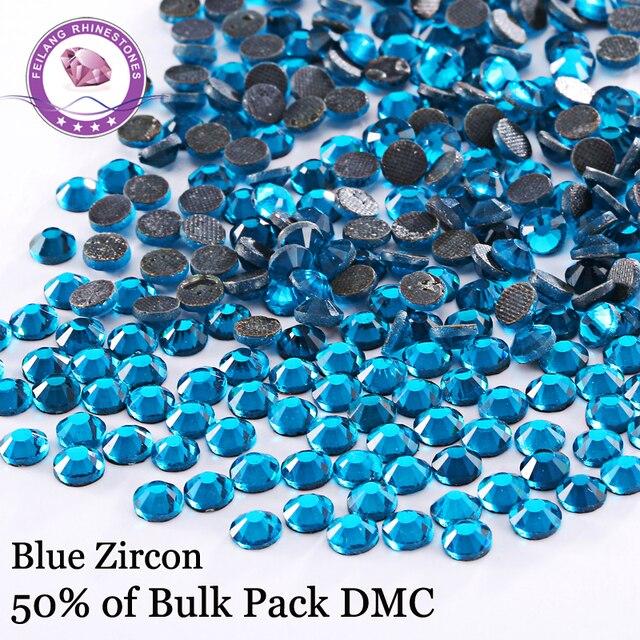 DMC Blue Zircon Wholesale Crystal Stones Hotfix Rhinestones For Garment Sewing Accessories DIY Decoration Iron On Clothing