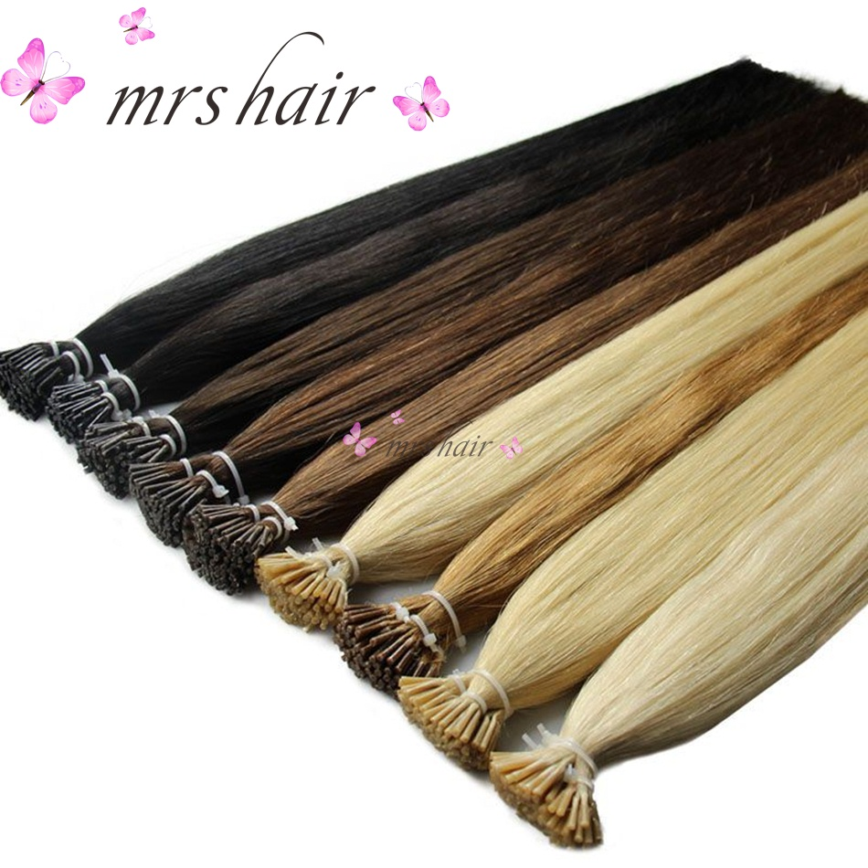 MRSHAIR 1g/pc 16 20 24 Pre Bonded Hair Extensions I Tip Machine Made Remy Straight Human Hair On Capsule Real Hair 50pcs ...