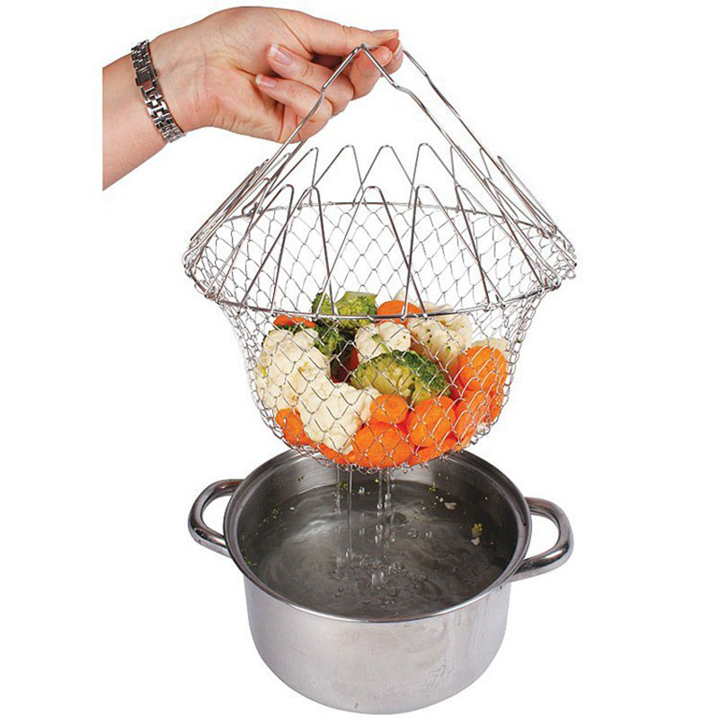 Image result for 1pcs Foldable Steam Rinse Strain Fry French Chef Basket Magic Basket Mesh Basket Strainer Net Kitchen Cooking Tool Drop Shipping