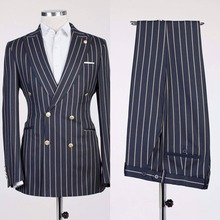 2020 New Peaked Lapel Gold Striped Suit Jacket As Groom Tuxedos Navy Blue Blazer