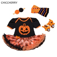 Baby Pumpkin Halloween Costumes Lace Romper Dress Headband Leg Warmers Shoes Newborn Clothing Sets Girls Halloween