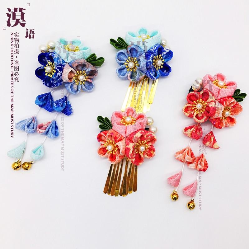 Japanese Cloth Flowers Headwear Traditional Style Handmade Cherry Flower Kimono Accessories Headdress Classic Hairpin