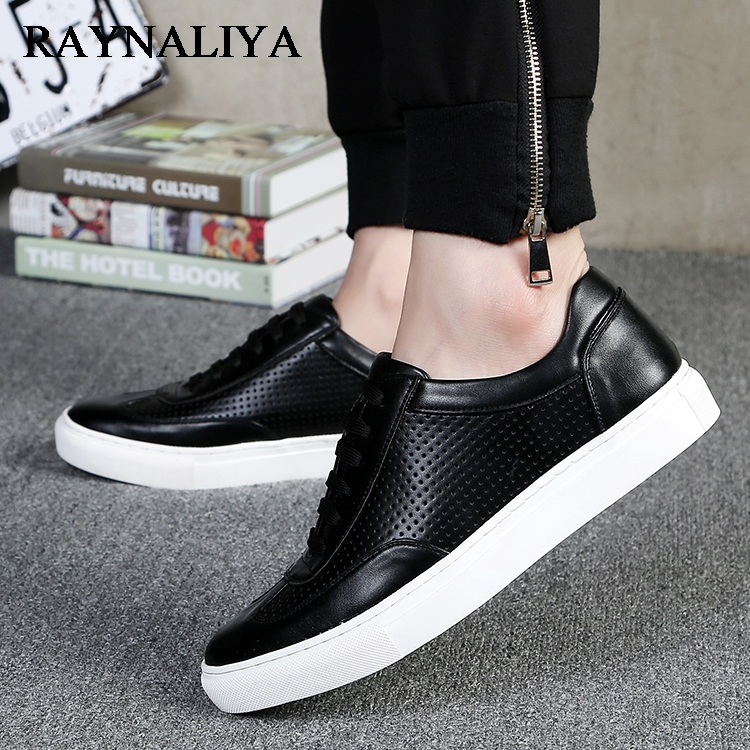 2018 New Arrival Male Breathable Leather Shoes Lacing Up Men Ankle Casual Black White Board Shoes For Young Men LMX-B0046 2017 free shipping new arrival traditional tavas women colors casual shoes breathable max size 36 42 black white superstar