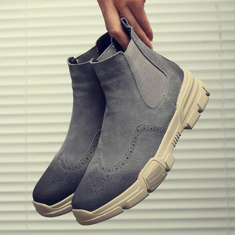 Tangnest Cow Suede Leather Ankle Boots Men British Style Cut-out Chelsea Boots Casual Platform Shoes Man Big Size 38~46 XMX915 цена 2017