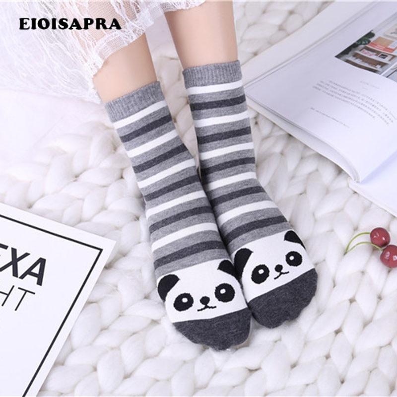 [EIOISAPRA]Striped Cartoon Funny Socks Femininas Cute Panda/Rabbit Korean Followed By Animal Kawaii Socks Women Calcetines Mujer