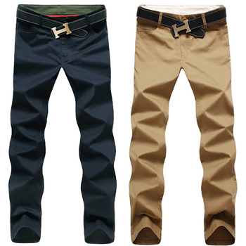 Men Pants Cotton Washed Casual Pants