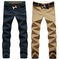 2016 nova moda men calças de algodão lavado calça casual homens calças retas 9 cores plus size 28 ~ 44 roupas dos homens