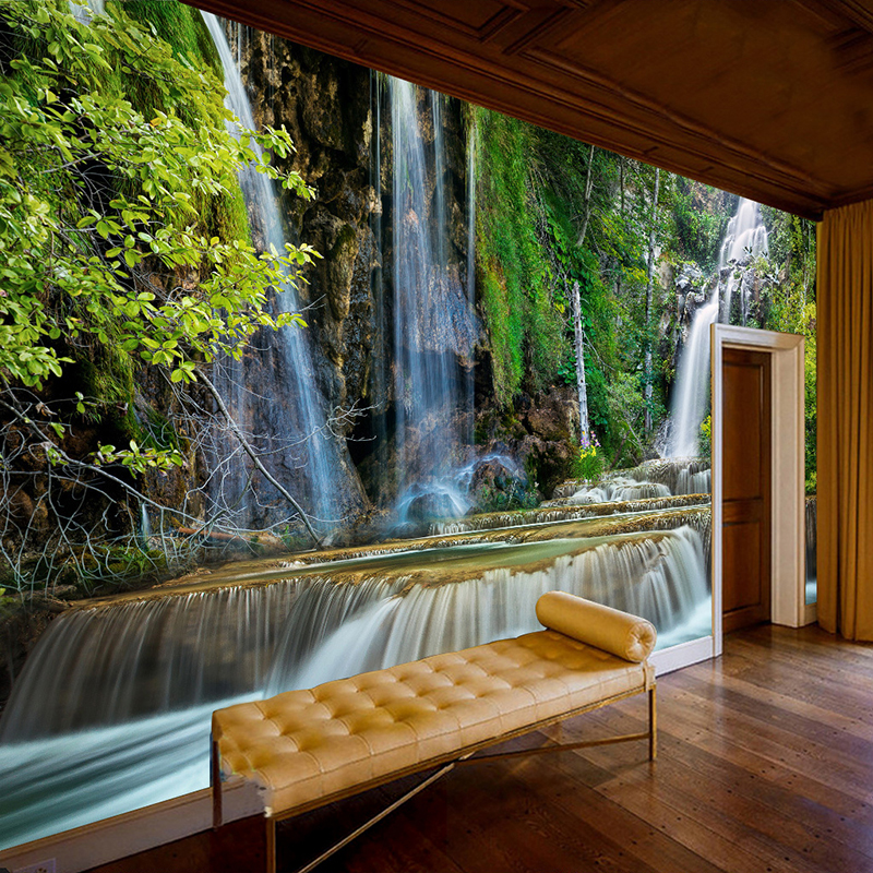 Custom 3D Photo Wallpaper Waterfall Scenery Large Murals Wall Painting Living Room Sofa Bedroom Backdrop Wall Papers Home Decor custom photo wallpaper natural scenery mangrove landscape custom wallpaper business hotel home decoration backdrop murals