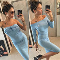 Robe Vestidos De Fiesta 2017 New Autumn Color Word Shoulder Slim Package Hip Sexy Dress In The Long Sleeved All-match Backing